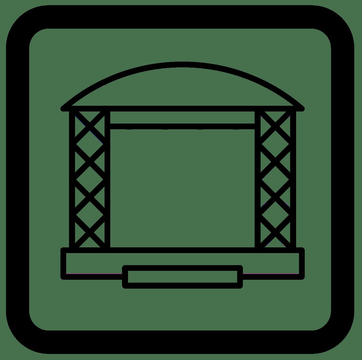 Symbol Bühne, Buehnenueberdachung, Bühnenpodest